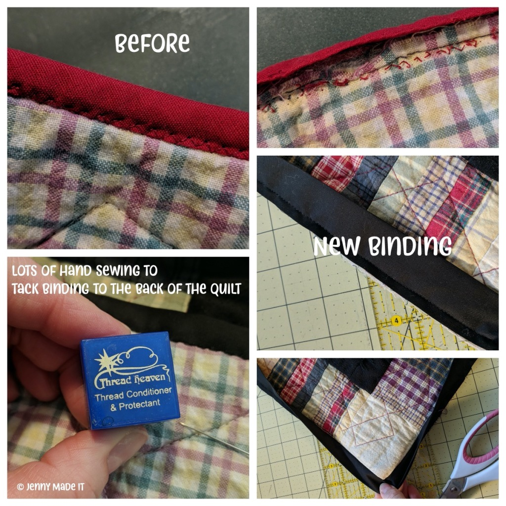 """Collage photo showing details of the """"before"""" version of the homespun quilt and progress photos of the new binding."""