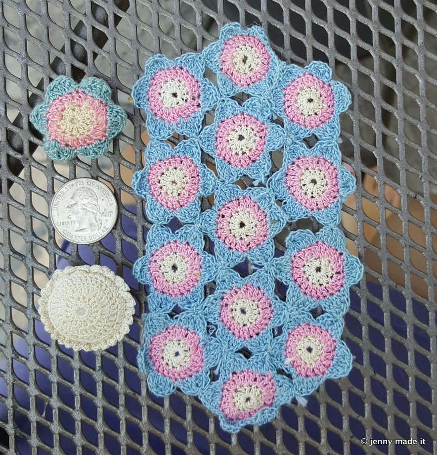 mini crocheted blanket and pillows