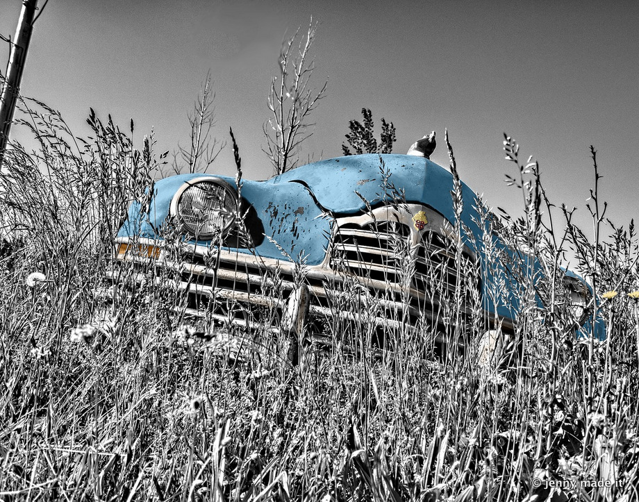 old blue car