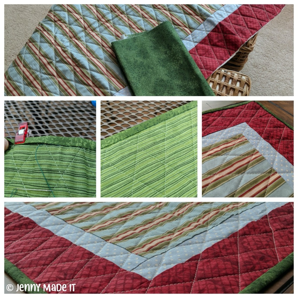 Collage of photos of my quilted table runner project getting a nice binding.
