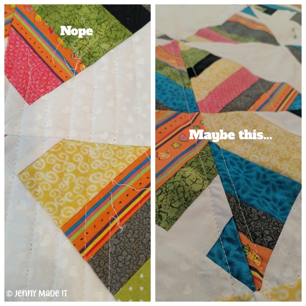 Collage photo of the string quilt and what went wrong as well as what might work.