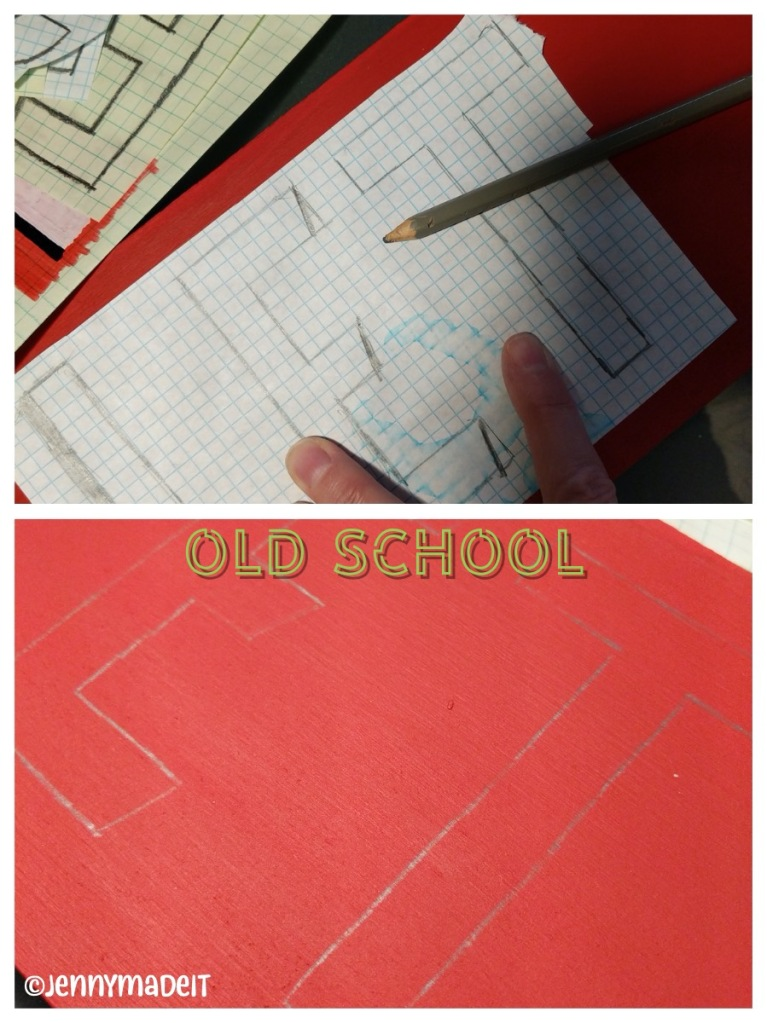 Photo of transferring lettering onto red painted board