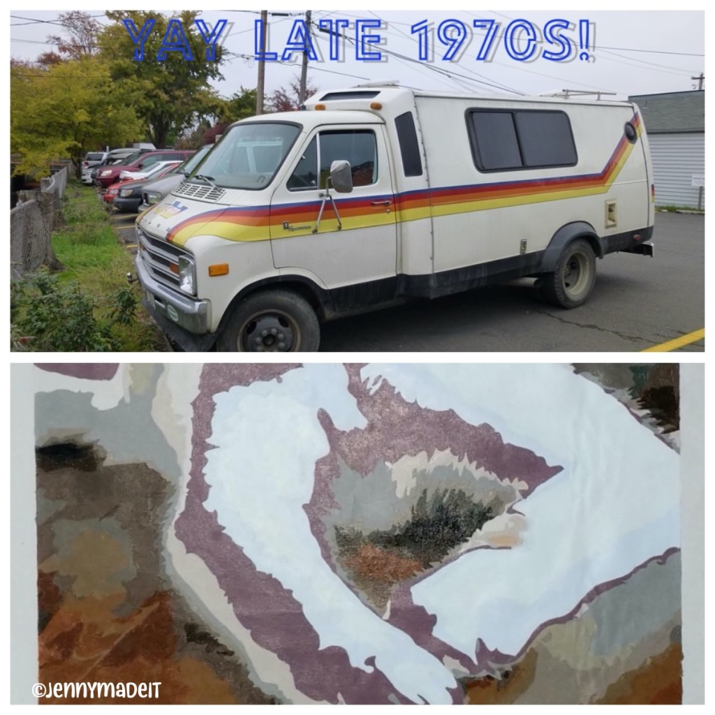 Collage of images of a 1970's era Trans Van recreational vehicle and the paint-by-number of my cat with an unfortunate swath of mauve paint.