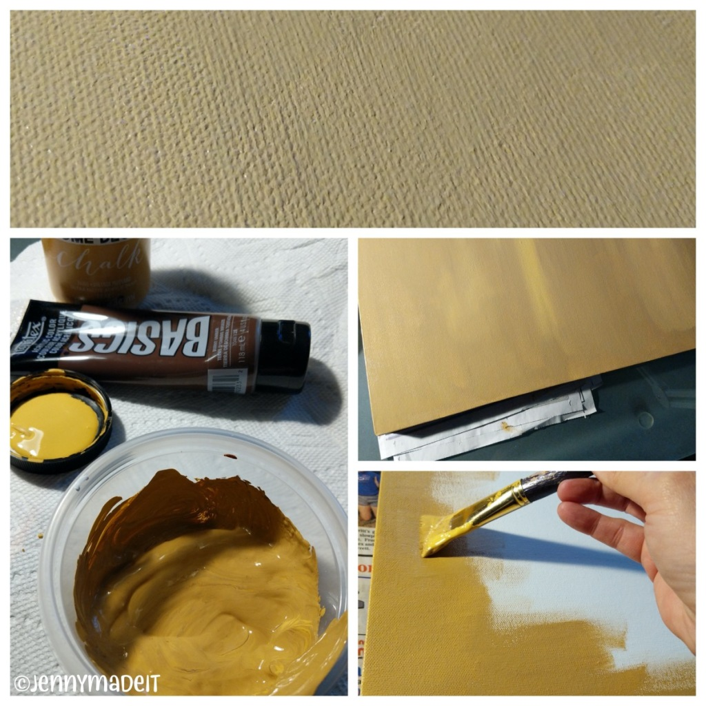 Photo collage showing the golden yellow color being painted on the canvas.