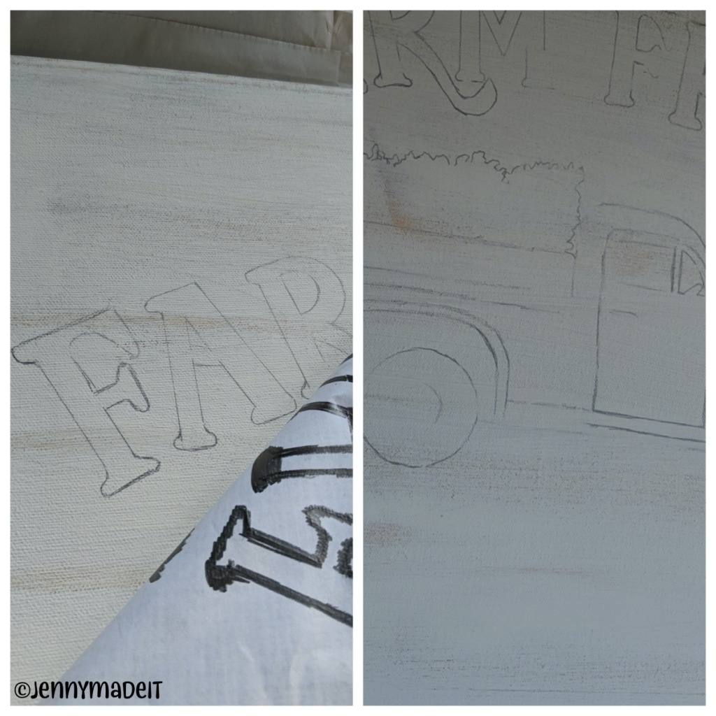 Photo collage showing how I transfer the design to the canvas.