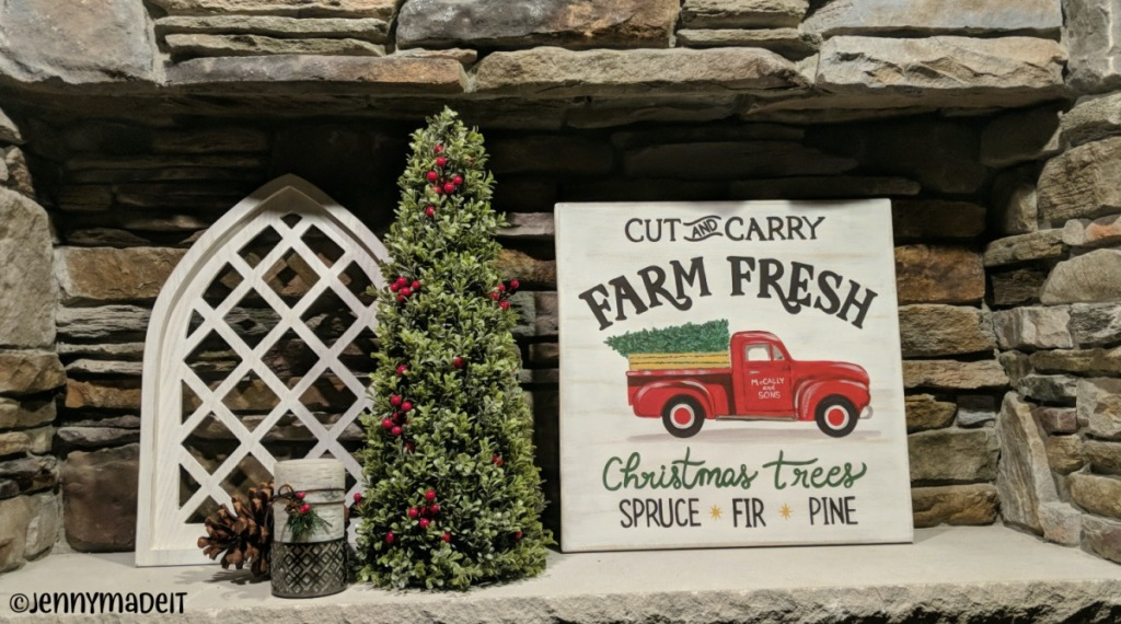 Photo of the finished Farm Fresh Christmas tree sign.