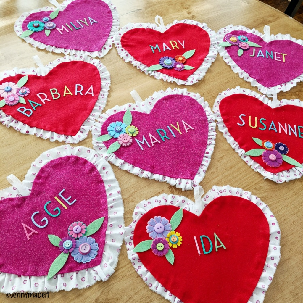 This is a photo of Valentine hearts with lady's names on them.