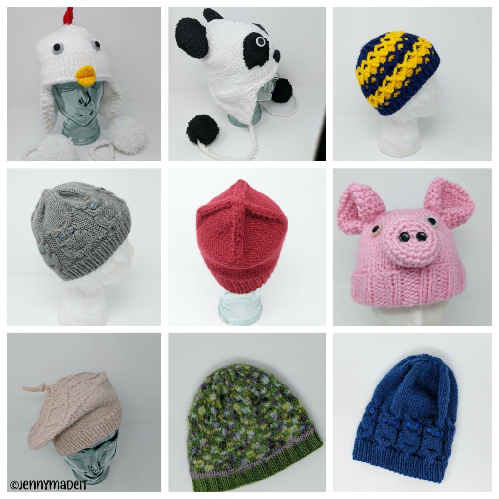 This is a montage of photos of hats I have made.