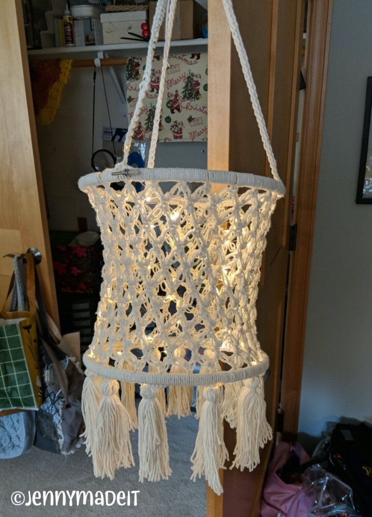 This is a photo of a Bohemian style chandelier I crocheted with off-white cotton yarn.