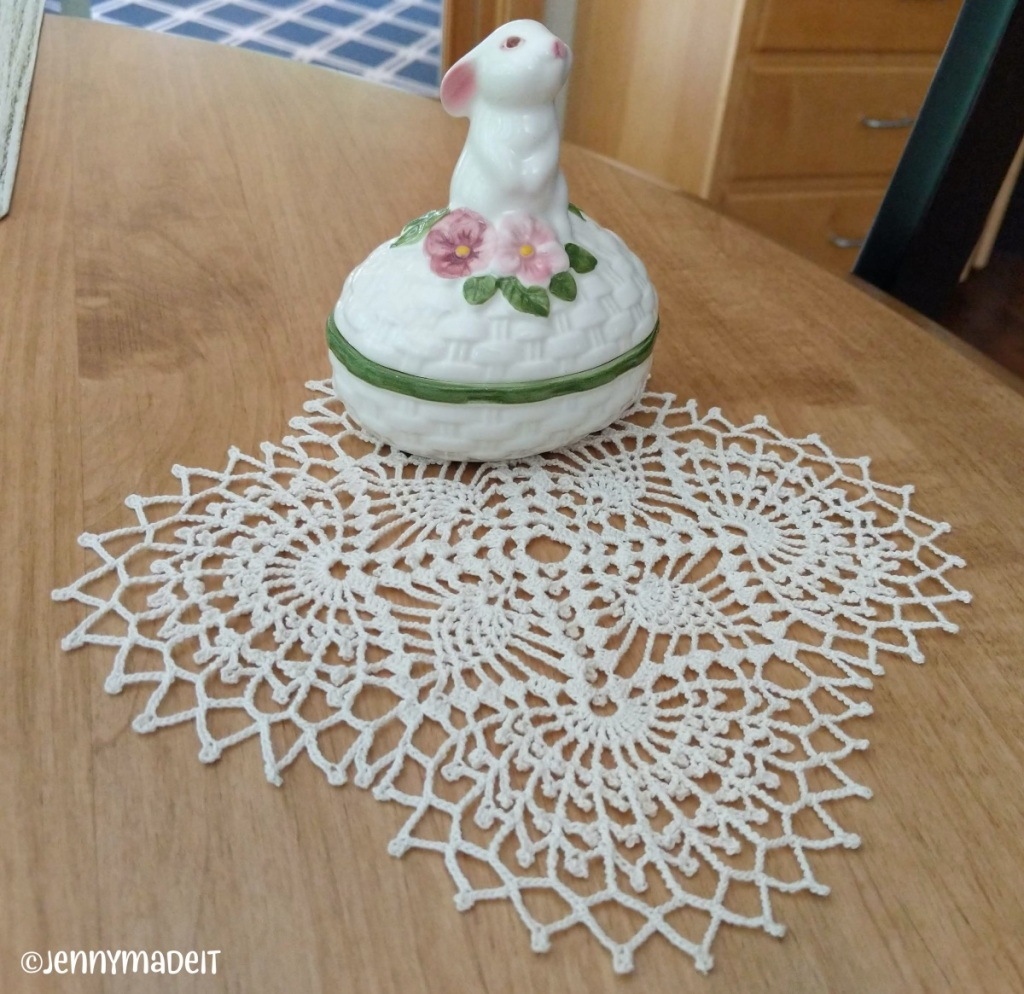 This is a photo of a crocheted doily I made.